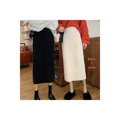 【送料無料】スカート 秋冬 韓国風 冬 ハイウエスト ニットスカート 女 単一色 着 | 346770_A64109-4603771