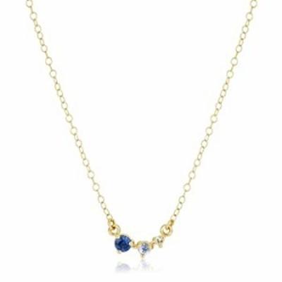 サファイアネックレス ゴールド グラデーション3ブルーネックレス 14Kゴールドメッキネックレス ブルーダイヤモンドネックレス 小さなダ
