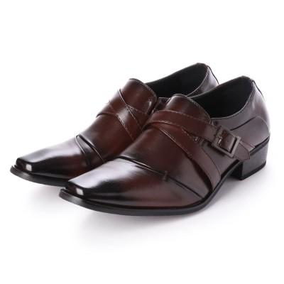 ジーノ Zeeno ビジネスシューズ 靴 メンズ 紳士靴 フォーマル ナナメストレートチップ ベルト モンクストラップ シークレットシューズ ロングノーズ (ダークブラウン)