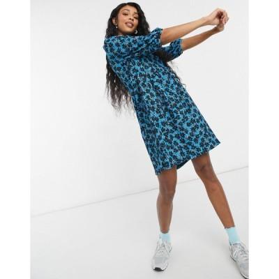ニュールック ミニドレス レディース New Look volume sleeve mini smock dress in blue ditsy floral エイソス ASOS