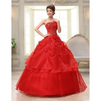 二点刺繍シンプルウェディングドレス豪華なウェディングドレス☆格安スチェ結婚式ドレス