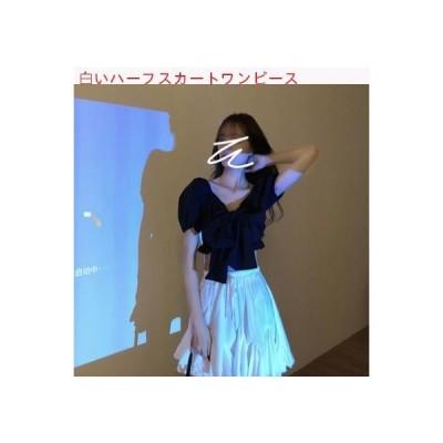 【送料無料】ファッション セット 女 夏 レトロ黒 ワイシャツホワイト ハーフ丈スカ   346770_A62769-1899720