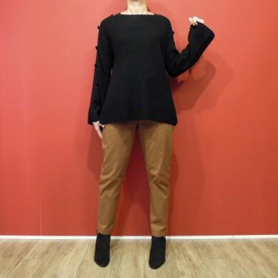 イタリア ベルスリーブ リブニットセーター レディース 黒 ブラック ベル袖 フレア ゆったり 大人 通販 おしゃれ 上品 11号 L 無地