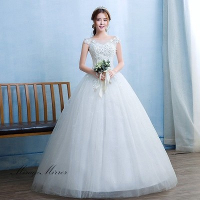 ウエディングドレス 安い 結婚式 花嫁 二次会 ロングドレス パーティードレス プリンセスライン フォーマルドレス ホワイト 大きいサイズ 細身 可愛いレース