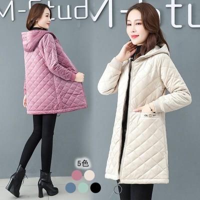 5色 軽量 中綿コート ミディアムコート 厚地 30代 40代 50代 着痩せ 防寒 暖かい 大きいサイズ 体型カバー フード付き ベージュ