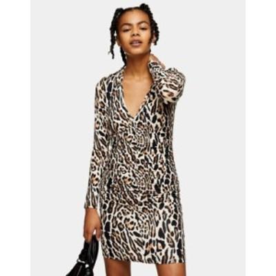 トップショップ レディース ワンピース トップス Topshop ruched front mini dress in leopard print Multi