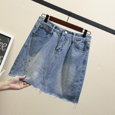 カジュアルデニムスカート ショート丈 切りっぱなし 大きいサイズ 無地 リバイバル 春夏 レディース 20代 30代 女子会 通学 旅行