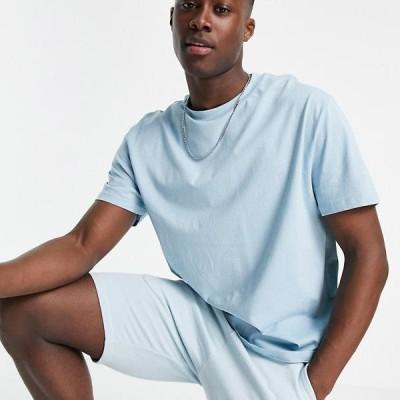 エイソス ASOS asos ASOSDESIGNオーガニックリラックスフィットTシャツ(ブルー) トップス   メンズ 男性 インポートブランド