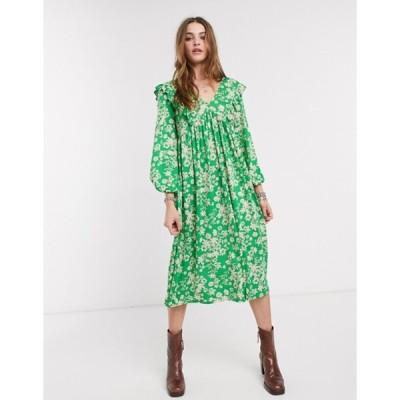 エイソス レディース ワンピース トップス ASOS DESIGN smock midi dress in green floral