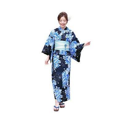 浴衣 レディース セット 濃紺地に青さざんか ときめき恋浴衣3点セット 紺