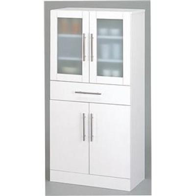 ガラス扉食器棚/キッチン収納 【幅60cm×高さ120cm】 ミストガラス使用 『カトレア』 大容量 【組立】