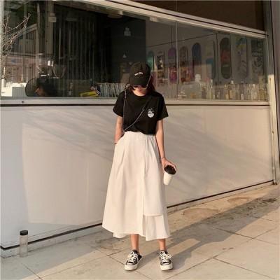 韓国ファッション INS絶賛発売中商品 ファッション 無地 ミディアムロング スカート カジュアル