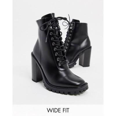 エイソス レディース ブーツ・レインブーツ シューズ ASOS DESIGN Wide Fit Bobbie lace up heeled boots in black