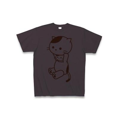 着ぐるみバイト和猫(あんず色) Tシャツ(チャコール)