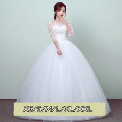 ウェディングドレス 結婚式ワンピース きれいめ 花嫁 ドレス 透け感レース ハイウエスト Aラインワンピース 白ドレス