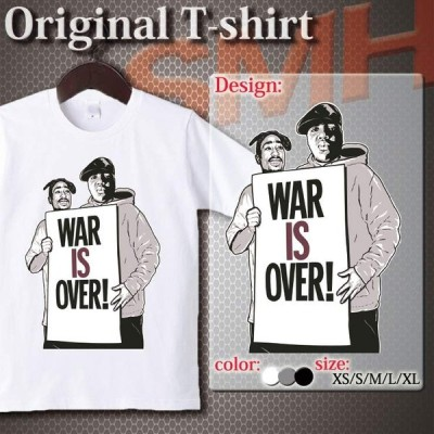 Tシャツ カットソー UNISEX  2pac ビギー Biggie The Notorious B.I.G BEEF hiphop rap rapper ラップ war is over おしゃれ  Uネック クルーネック