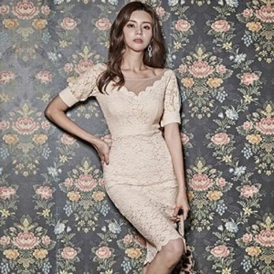 キャバ ドレス キャバドレス ワンピース ミディアムドレス ガーリー クラシカル スカラップレース 花柄 透け感 レース パフスリーブ アイ