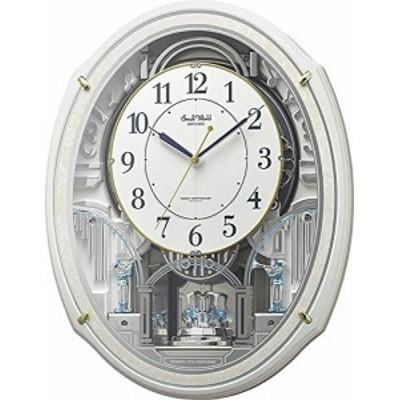 【送料無料】リズム時計工業(Rhythm) 掛け時計 白 49.9x38.9x10.8cm 電波時計 からくり 48曲 童謡 クリスマス 他 リズム時計 4MN553RH03