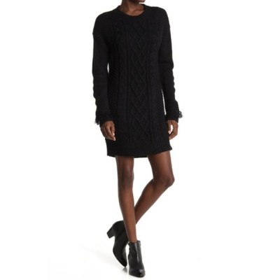 ビービーダコタ レディース ワンピース トップス Cable Knit Sweater Dress BLACK