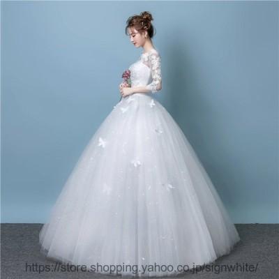 ドレス 格安 ウエディングドレス 白 ドレス 二次会 花嫁 結婚式 袖あり ウェディングドレス フォーマル 編み上げタイプ おしゃれ レース ワンピース