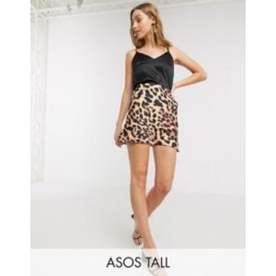エイソス レディース スカート ボトムス ASOS DESIGN Tall satin bias mini skirt in leopard print Leopard print