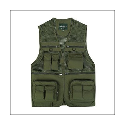 (XX-Large, Army Green) - Outdoor Fishing Vest,Quick-Dry Marsway Multi Pockets Mesh Vest Hunting Waistcoat Travel Photography Jackets[並行