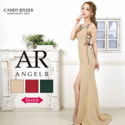送料無料 Angel R/エンジェルアール ストレッチ無地×レザーコードレースアップデザインビジューノースリーブロングドレス AR20310 クラ