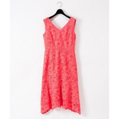 ドレス 刺繍セミロングドレス