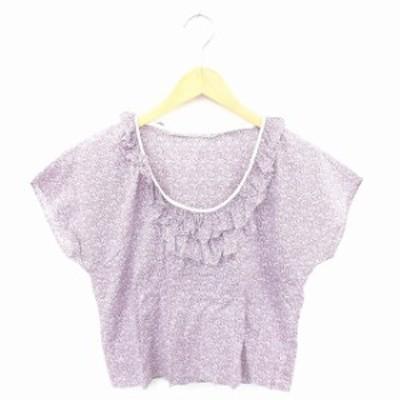 【中古】マカフィー MACPHEE トゥモローランド カットソー Tシャツ Uネック 総柄 フリル 綿 半袖 38 紫 パープル