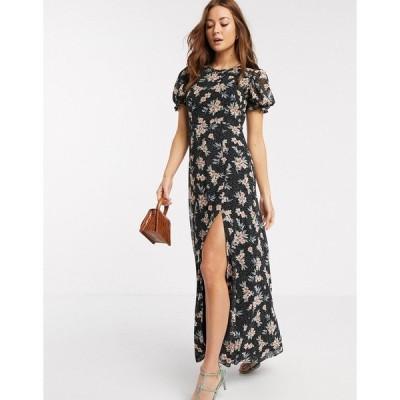 リバーアイランド レディース ワンピース トップス River Island short sleeve chiffon floral maxi dress in black Black floral