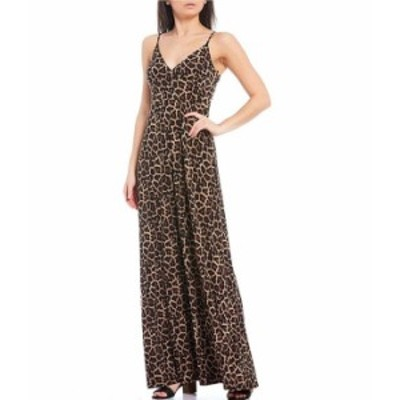 マイケルコース レディース ワンピース トップス MICHAEL Michael Kors Cheetah Print Lux Matte Jersey V-Neck Sleeveless Maxi Dress D