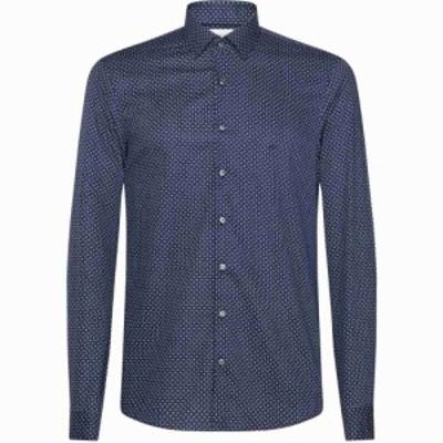 カルバンクライン Calvin Klein メンズ シャツ トップス Easy Iron Print Shirt NAVY