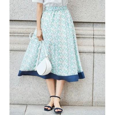 S size ONWARD(小さいサイズ)/エスサイズオンワード 【シルク混】フラワープリント スカート グリーン系5 S2