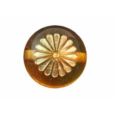 菊花紋 アンバー彫刻ビーズ 12mm 琥珀 【穴あり一粒売りビーズ】