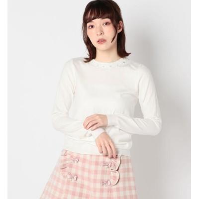 【ロディスポット/LODISPOTTO】 衿ぐり装飾ニット