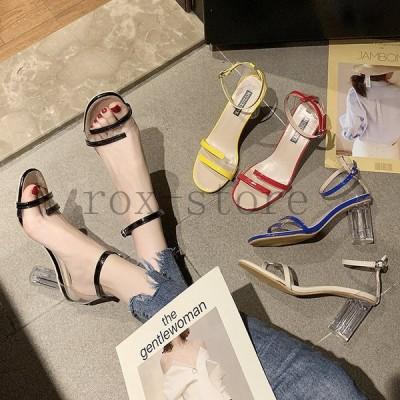 サンダルレディース履きやすい夏サンダル太めヒールミュールハイヒール靴透明puストラップサンダルローマブール歩きやすい美脚大人オシャレ