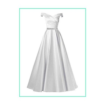 Changuan Women's Off Shoulder A-line Beaded Satin Evening Dress Long Formal Ball Gown with Pockets White with Beads-22並行輸入品