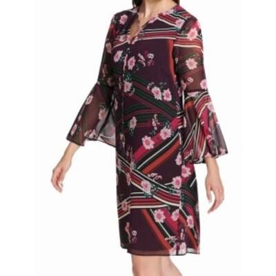 Vince ヴィンス ファッション ドレス Vince Camuto Womens Shift Dress Purple Size 6 Floral Print Chiffon