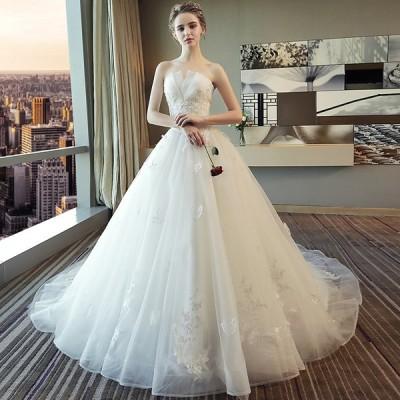ドレス ウェディングドレス 結婚式 花嫁ドレス 演奏会 ロング丈 引き裾 ビスチェ トレーン 大きいサイズ 披露宴 刺繍フリルドレス Aライン