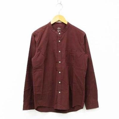 【中古】RAGEBLUE カジュアルシャツ トップス 長袖 ノーカラー 無地 シンプル コットン混 ブラウン M メンズ