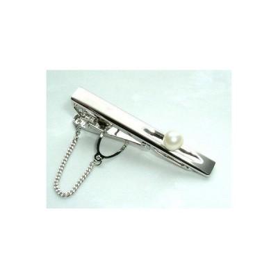 アコヤパール タイ止 ワニロ式 金具 6.5mm玉 天然 あこや真珠 ネクタイピン