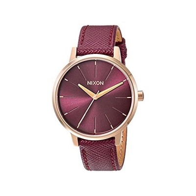 Nixon Kensington レザーローズゴールド/ボルドーカジュアルデザイナーレディース腕時計(37mmローズゴールド&ボルドーフェイス/ボルド