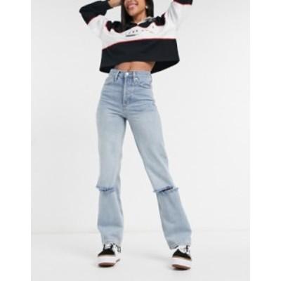 トップショップ レディース デニムパンツ ボトムス Topshop Dad jeans with low knee rip in bleach wash Blues