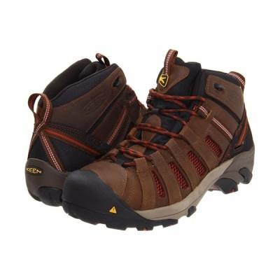 ブーツ キーン メンズ KEEN Utility Flint Mid 1007972 ブラック Burnt Henna スチール Toe Work ブーツ