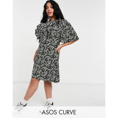 ファッションユニオン Fashion Union Plus レディース ワンピース ミニ丈 ワンピース・ドレス Mini Dress With Ruffle Sleeve In Ditsy Floral ブラック