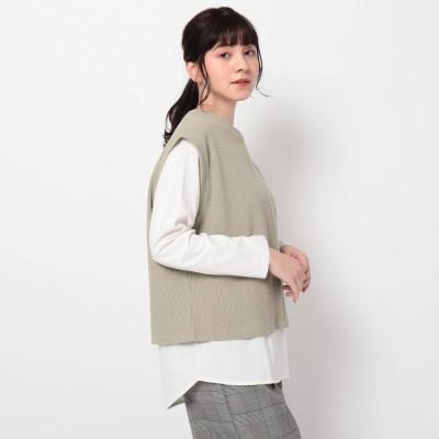 ザ ショップ ティーケー  ウィメンズ THE SHOP TK(Women) リブベスト×TシャツSET (オリーブグリーン)
