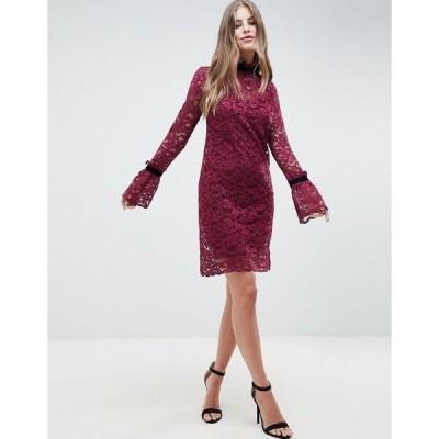 ホープ アンド アイビー レディース ワンピース トップス Hope & Ivy Shift Lace Dress Burgandy
