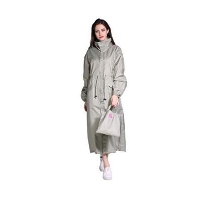 Freesmily レインコートレディース長い雨衣女性自転車通勤通学梅雨雨具防風ファッション薄くて軽い撥水性抜群同色の収納ポーチ付き(グリーン、XL)