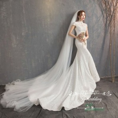 花嫁 結婚式 ウェディグドレス 二次会 パーティードレス ドレス 大きいサイズ マーメイドラインドレス エンパイア 挙式 トレーン ロング