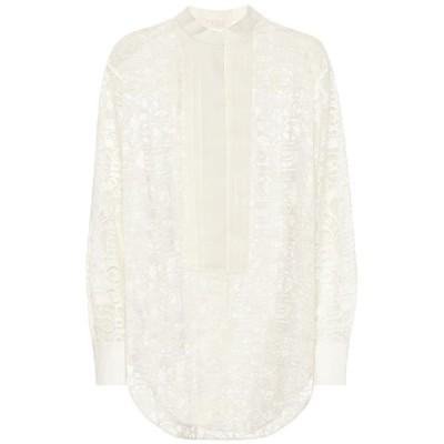 クロエ Chloe レディース ブラウス・シャツ トップス Logo cotton-blend lace shirt Iconic Milk